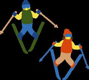 スキーを楽しむ二人の子供